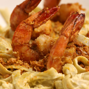 prawns-pasta-in-creamy-crab-roe